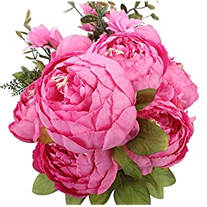 Duovlo Springs Flowers Artificial Silk Peony Bouquets Wedding Home Decoration,Pack of 1 (Spring Peach Pink) 6