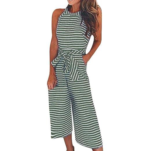 e6fa826f94cd Longay Women Sleeveless Striped Jumpsuit Casual Clubwear Wide Leg Pants  Outfit (S)