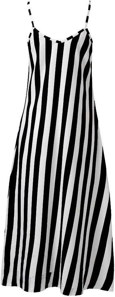 FOTBIMK sukienka damska lato, lato luźne flowy w paski kieszenie długa sukienka maxi sukienka letnia: Odzież