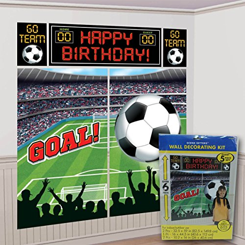 [Amscan Soccer Goal Birthday Party Soccer Scene Setters Wall Decorating Kit, Multicolor] (Green Themed Costumes)