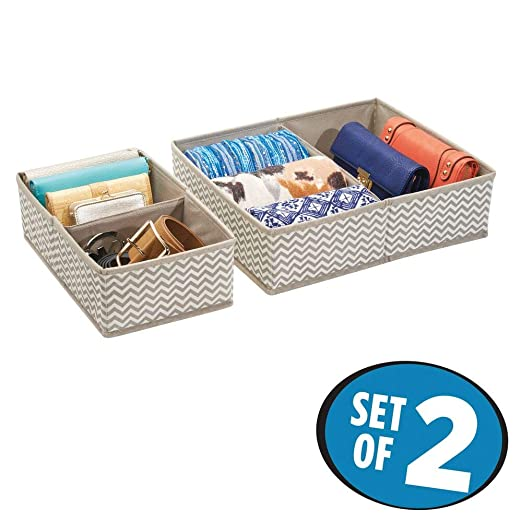 mDesign Organizador para cajones - Bandeja organizadora para gaveta con compartimentos para ropa interior - Set de dos separadores de cajoneras de 2 y ...