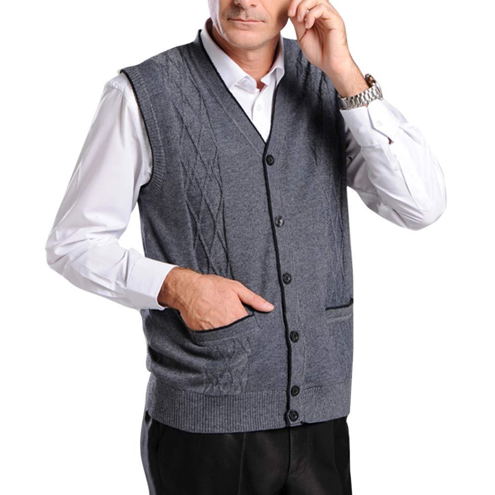 BrownFairwhale Chaqueta de Punto para Hombre sin Mangas Chaleco Cballero de Sweater Jers/éis Negocio para Primavera Oto/ño