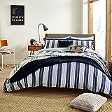 WILLIS Blue & White Stripe Nautical King Size Duvet Set by Peacock Blue