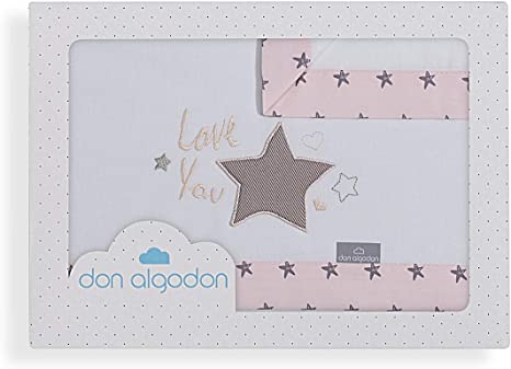 Don Algodón Sábanas Cuna Love You Blanco Rosa: Amazon.es ...
