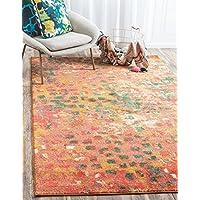 Unique Loom Estrella Collection Vibrant Abstract Orange Area Rug (3 x 5)