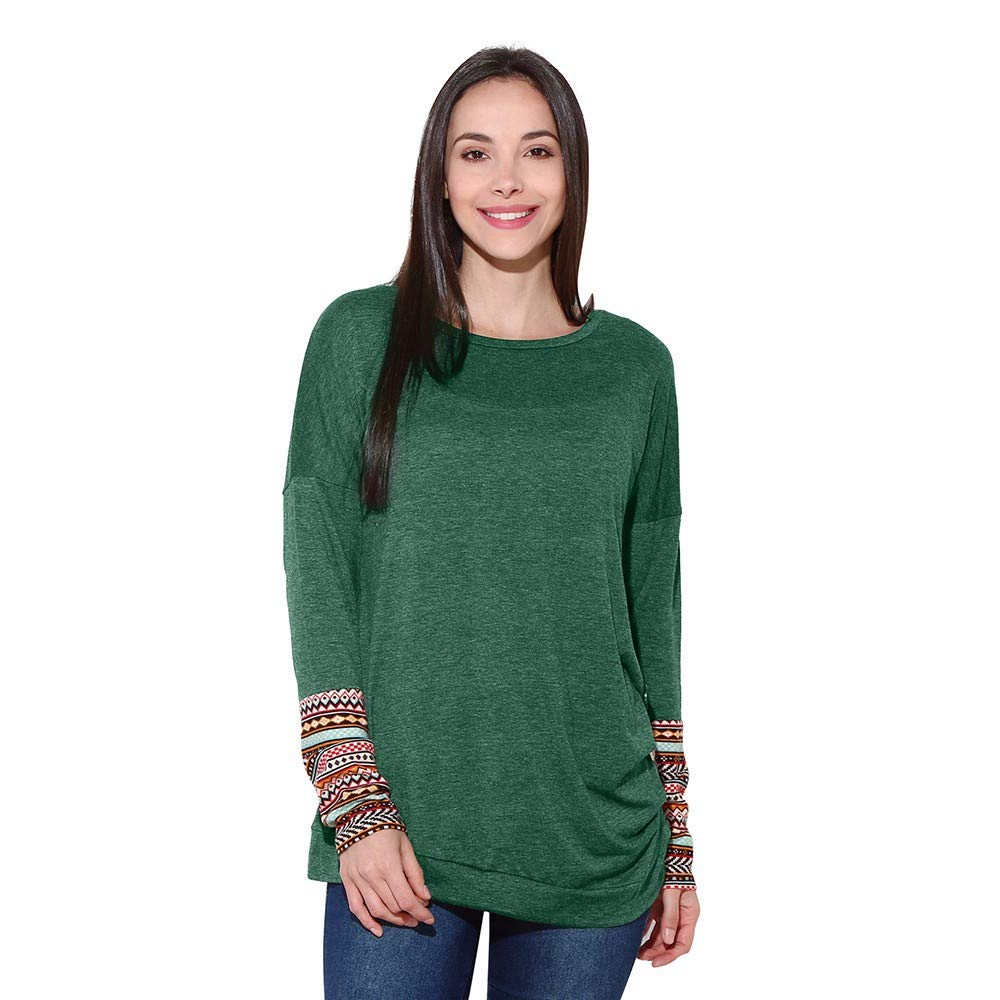 Amazon.com : Clearance!HOSOME Women Top Womens Autumn Women Long Sleeve Loose Button Trim Blouse Patchwork Round Neck Tunic T-Shirt : Grocery & Gourmet ...