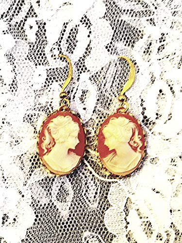 - Carnelian Background Cameo Earrings with Goldplate Dangles