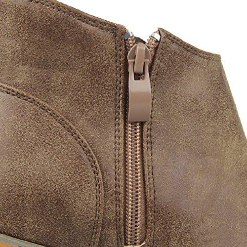 HooH Damen Winter Reißverschluss Klobige Stiefeletten Khaki