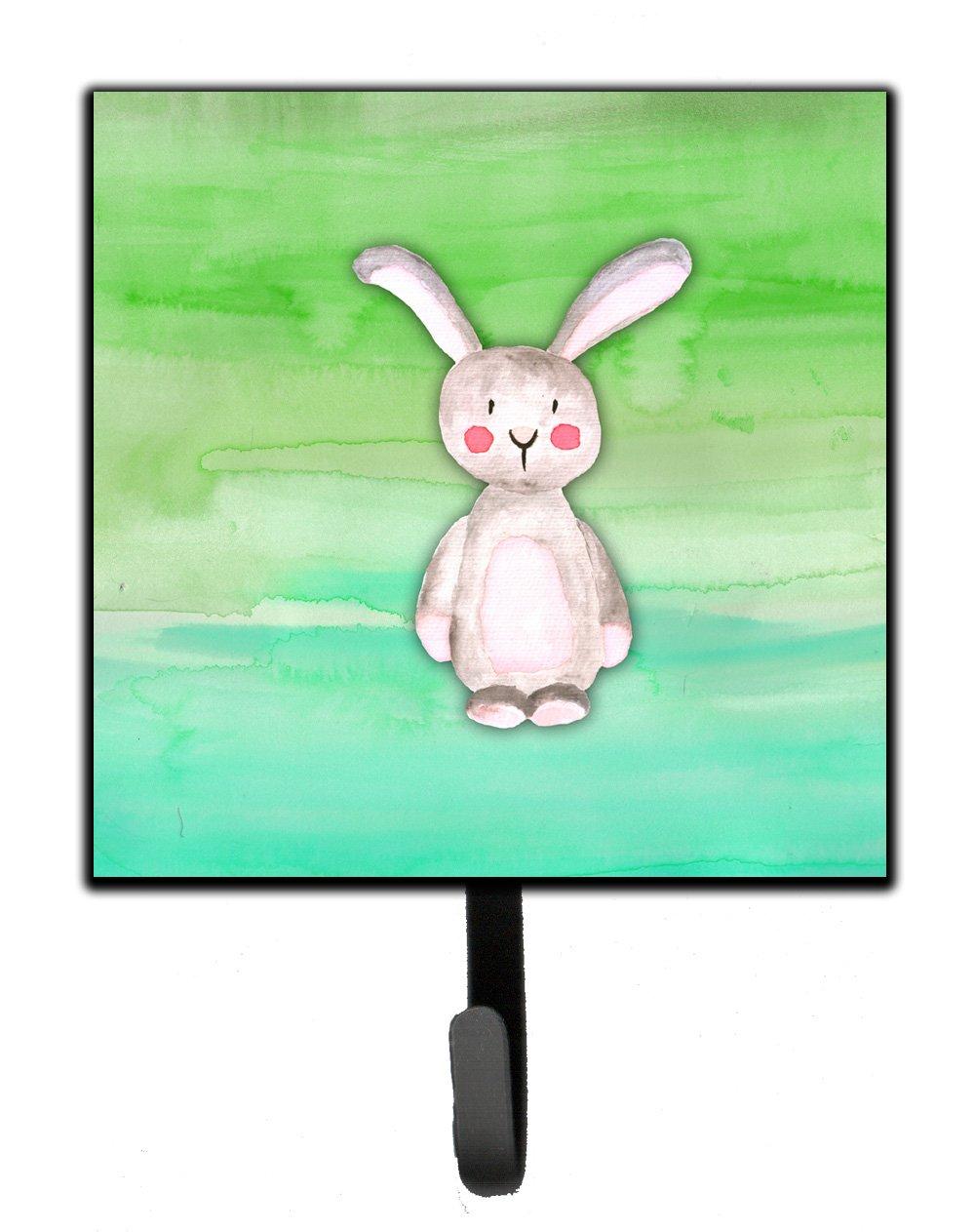 Carolines Treasures Bunny Rabbit Watercolor Wall Hook Small Multicolor