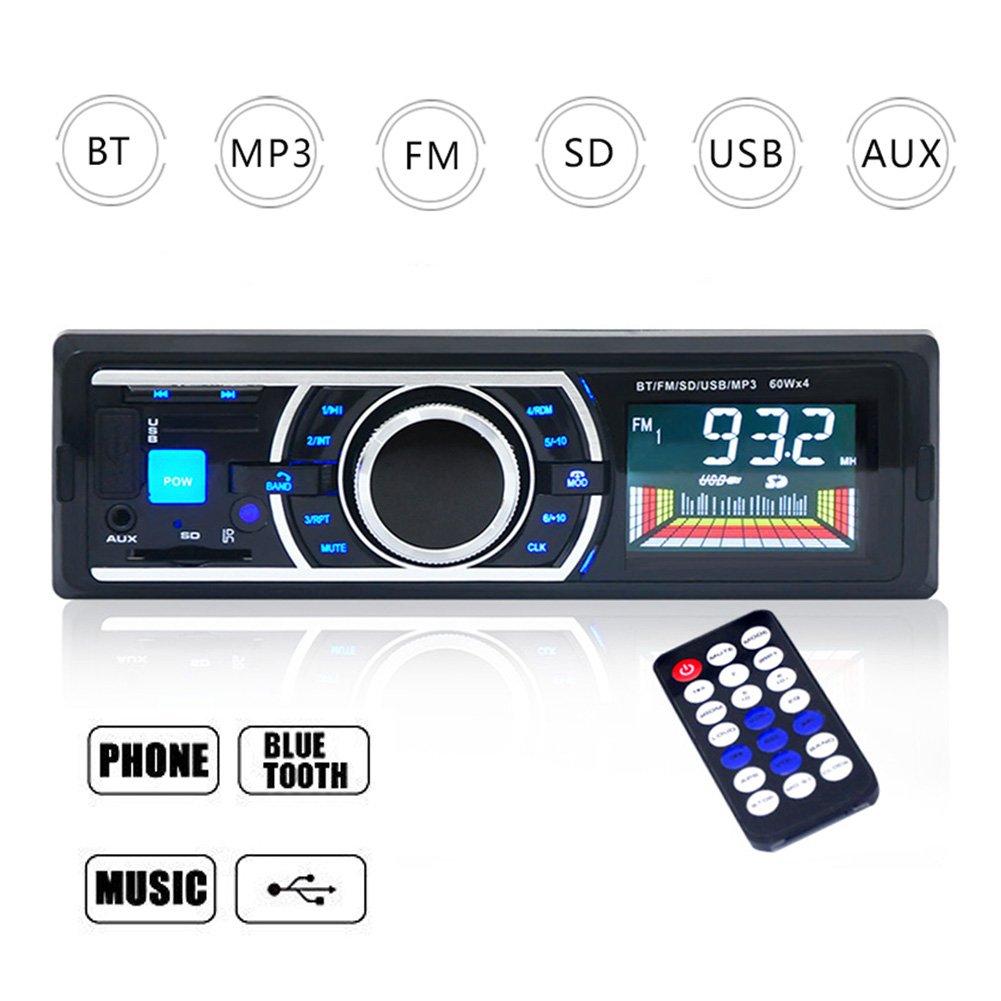 Homvik Radio de Coche Autoradio Bluetooth Manos Libres Audio Estéreo AM FM