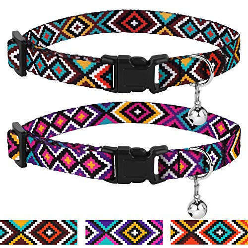 CollarDirect Aztec Cat Collar Breakaway Pack of 2 PCS Nylon Tribal Pattern Geometric Pet Kitten Collars for Cats (Ethnic Teal + Tribal Magenta)