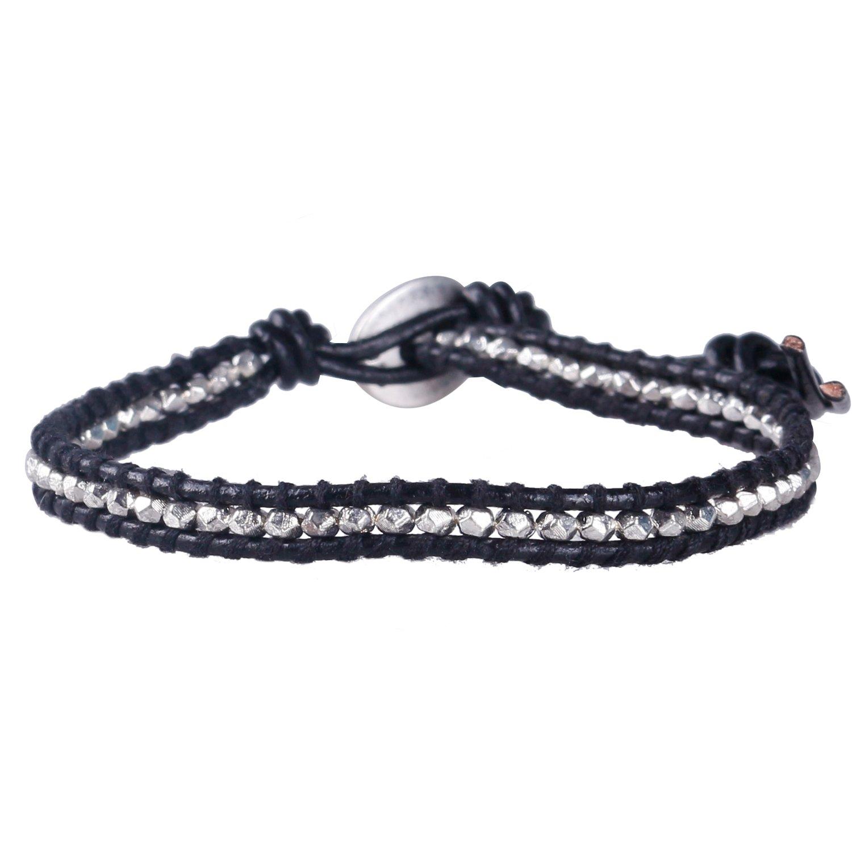 KELITCH Hematite /Silver Beaded Wrap Bracelet Handmade Friendship Bracelet (Black F)