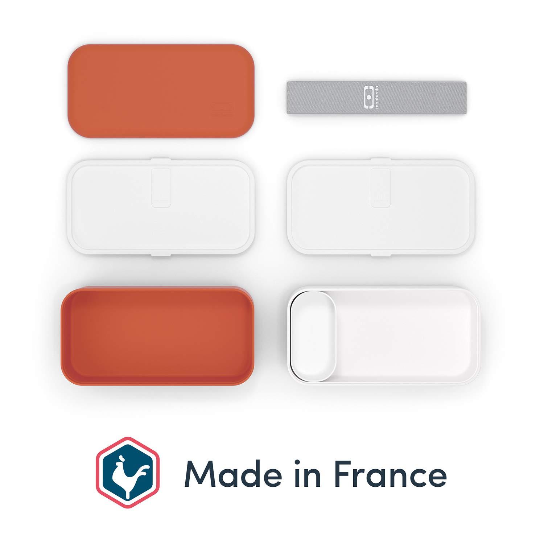 Amarillo Mostaza MB Original Fiambrera Lunch Box Made in France sin BPA Fiambrera Trabajo//Escuela Segura y Duradera monbento Bento Box con 2 Compartimientos Herm/éticos