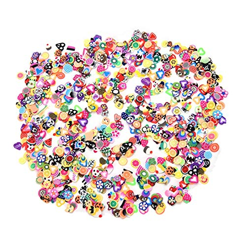 (1000pcs/pack DIY 3mm 3D Fruit Flowers Feather Design Tiny Fimo Slices Polymer Clay DIY Girls Toys Stickers Girls Gifts)