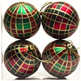 Queens of Christmas WL-ORN-4PK-PLD-GRG-4PK 4 Pack Green/Red/Gold Plaid Ornament Set, 3',