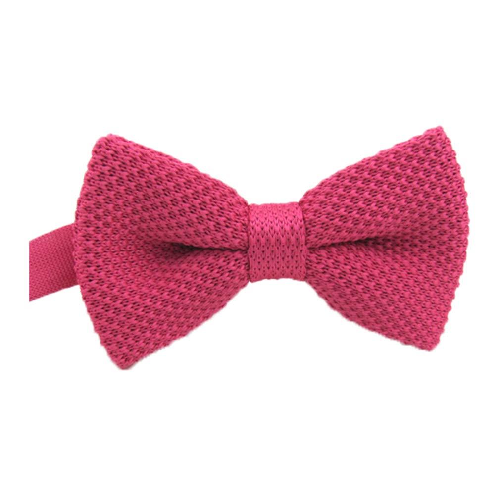 BESMODZ Mens Solid Knit Bow Tie Pretied Fully Adjustable Wedding Formal Bowties