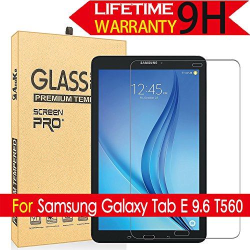 Galaxy Tab E 9.6 Glass Screen Protector, (T560) AnoKe(0.3mm 9H) [Case Friendly] Tempered Glass Screen Protector - Bubble Free for Samsung Galaxy Tab E 9.6 / SM-T560 Glass (Samsung Tablet Military Case)