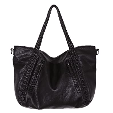 acd830cd59 Amazon.com  Big Capacity Fashion Women Handbags Soft Leather Lady Tote bag  Woven Pattern Shoulder Bag(Big)  Clothing