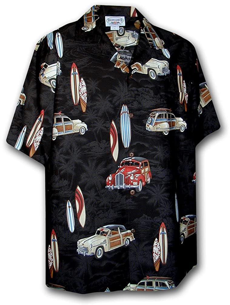 Classic Woody Hawaiian Aloha Cotton Shirts Black XL
