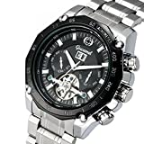 TYF Men's Watches Stainless Steel Tourbillon Watch Automatic Watch for Men with Black White Face
