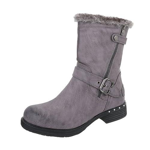 Zapatos para mujer Botas Tacón ancho Botines camperos Gris Tamaño 41: Amazon.es: Zapatos y complementos