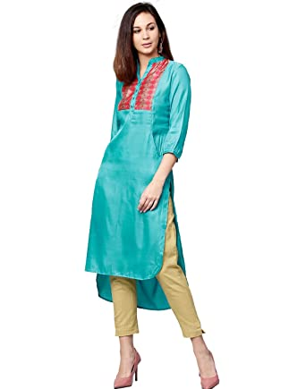 e257225d2366 Jaipur Kurti Women Blue & Cream Solid Straight Satin Kurta With Pant ...