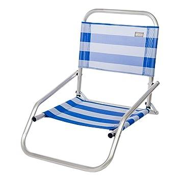 Aktive 53953 Silla Plegable Fija Aluminio Beach, 66 x 47 x 54 cm, Azul Oscuro