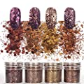 Laza 12 Colors 120g Chunky Nail Art Acrylic Nails Powder Glitter Mixed Retro Copper Chunky Sequins Iridescent Flakes Ultra-thin Paillette Sparkles Tips for Cosmetic Face Eyes Body Hair - Golden Age