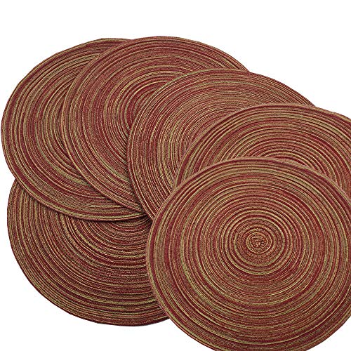 Red-A,Placemats,Round Placemats for Dining Table Set of 6 Woven Heat Resistant Non-Slip Kitchen Table Mats Diameter 14 -