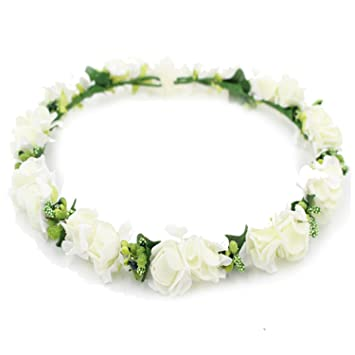 Amazon.com   Elegant Flower Headband Hair Band Floral Crown Garland for  Festival Beach Pink Blue Purple White   Beauty 064b7a9cadc