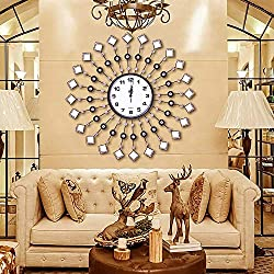 AHUA Modern Metal Crystal Wall Clock Luxury Diamond Morden Large Wall Clock Design Home Decor, Decorative Clock for Living Room, Bedroom, Office Space (Crystal)