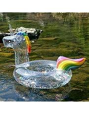 Vercico Eenhoorn Zwembad Float met Glitter, 90cm Sparly Unicorn Zwemring Opblaasbaar Zwembad Zwembad Floaties Speelgoed Opblaasbare Eenhoorn Buis voor Kinderen en Volwassen Pool Party Zomer Strand Supplies