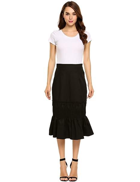 f202f6b327 Zeagoo Women Mermaid Pleated Mini High Waist Tiered Maxi Skirt at Amazon Women's  Clothing store: