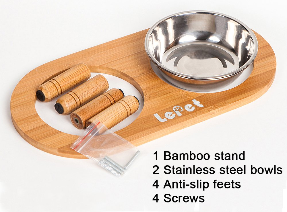 Lepet Elevated Dog Cat Bowls Stand with 2 Stainless Steel Bowls, Raised Pet Feeder Suitable for Small Dogs & Cats