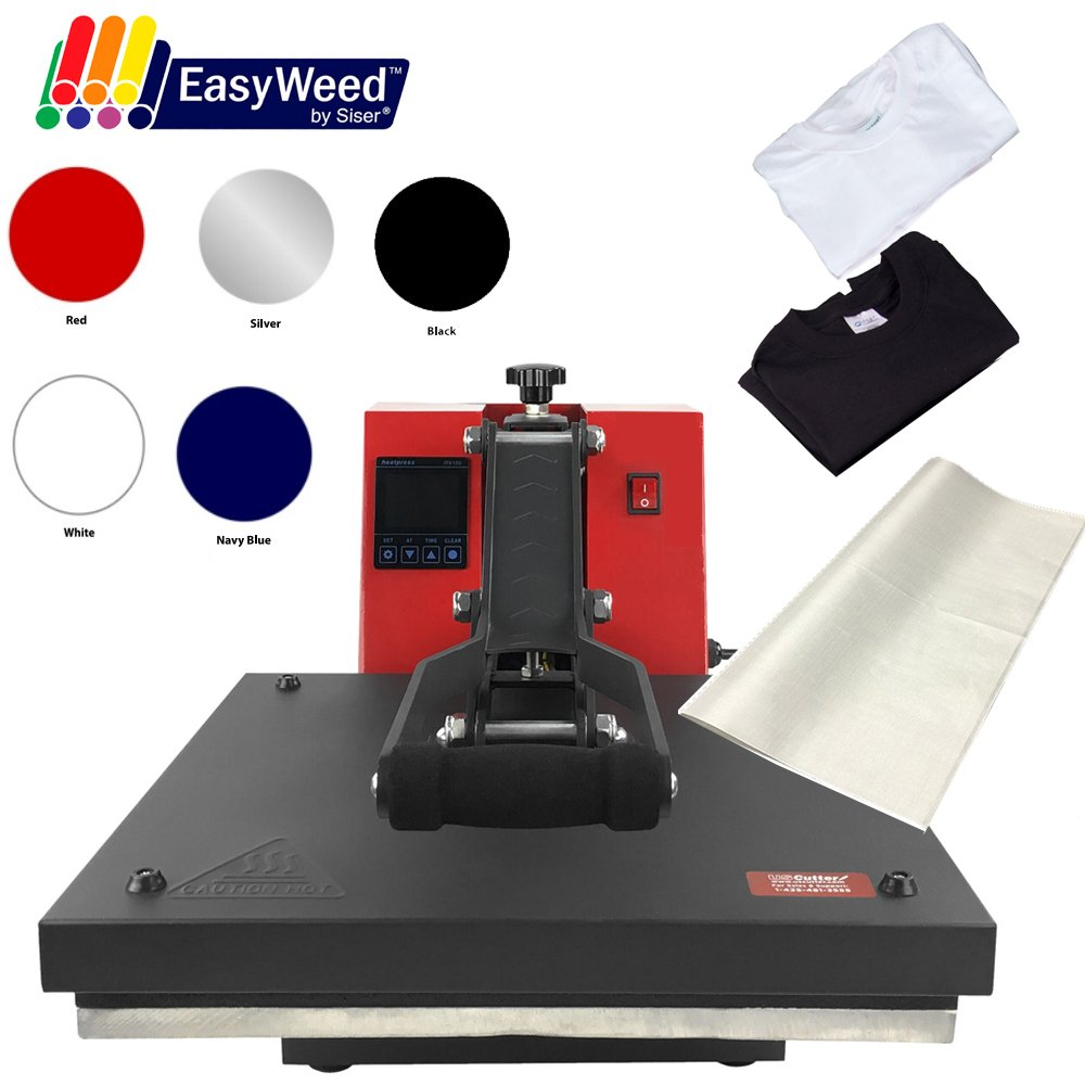 "USCutter 15""x15"" Digital Heat Press Machine, T-Shirts, Vinyl, Non Stick Sheet (Starter Bundle)"