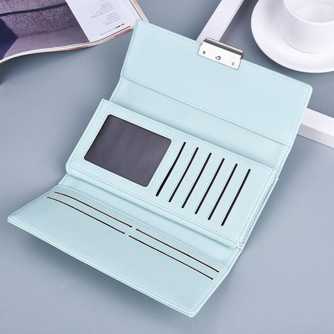 Womail Girl Fashion Hasp Long Wallet Card Coin Holder Clutch Handbags Light Blue