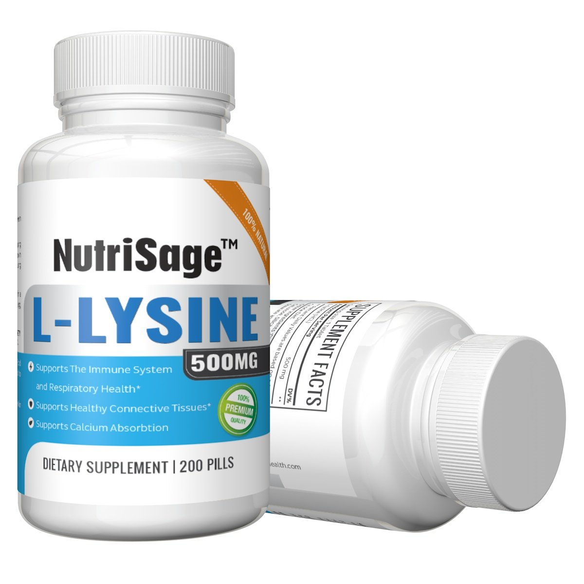 Premium Super L Lysine - 500mg Amino Acid Tablets For Cold Sore Care, Shingles, Immune Support & More - 200 Count Per Bottle by NutriSage (Image #5)