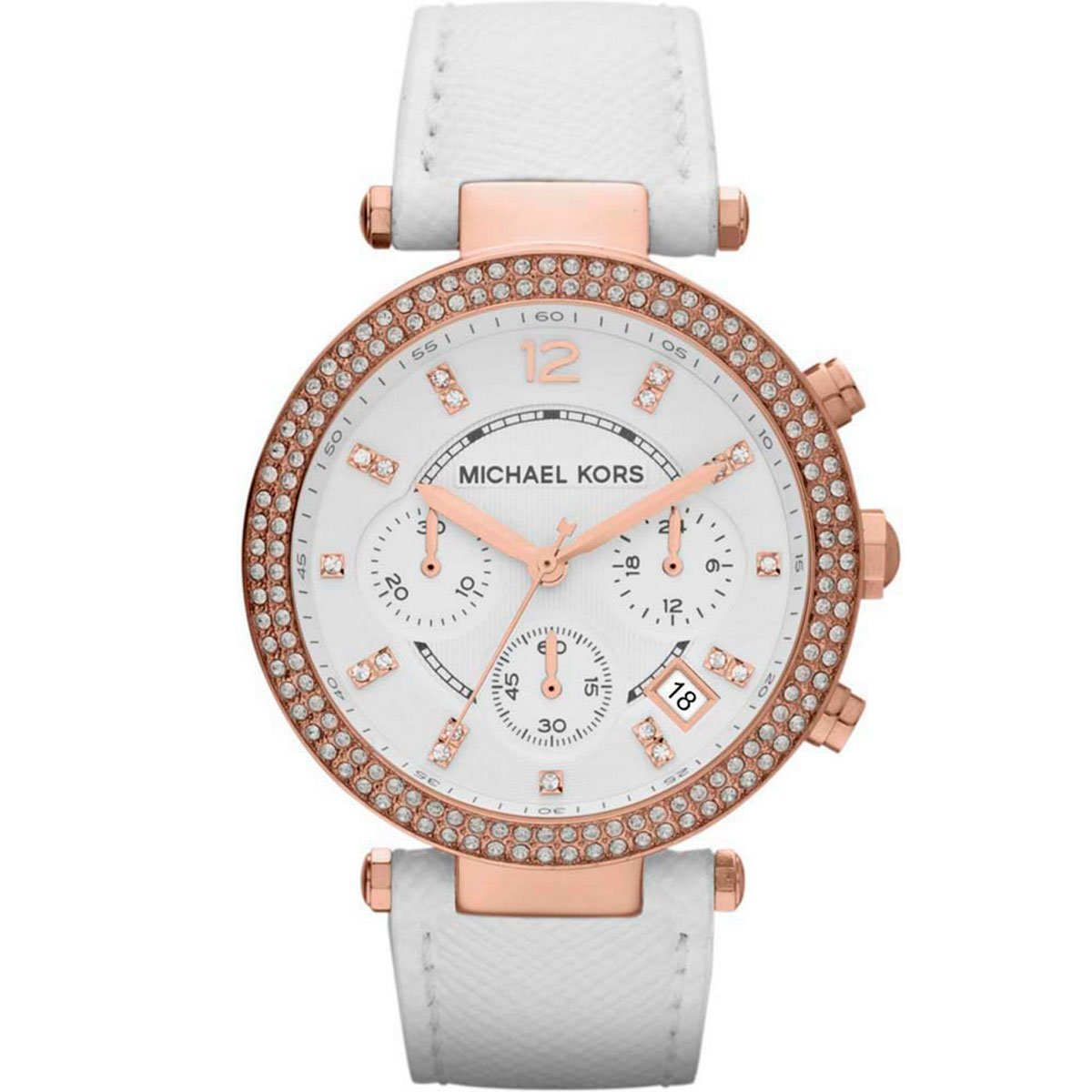 Michael Kors Watches Parker Watch (White/Rose Gold)