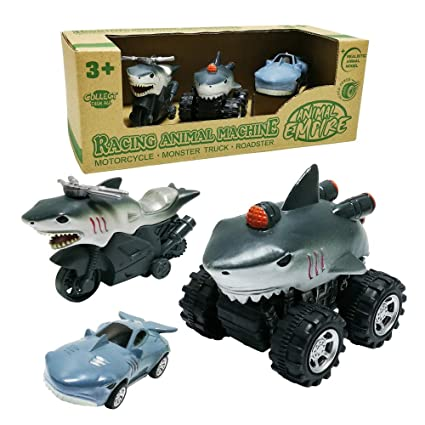 new arrive new high great quality GreenKidz Shark Car Toys 3-Pack Mini Animal Rev-Up Motorcycle Pull Back  Monster Truck and Roadster Toy Cars Vehicle Playset Gift for 3 Years Old  Boys ...