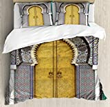 Arabian Duvet Cover Set by Ambesonne, Golden Door of Royal Palace in Fes Morocco Vintage Moroccan Artwork Mosaic Style, 3 Piece Bedding Set with Pillow Shams, King Size, Multicolor