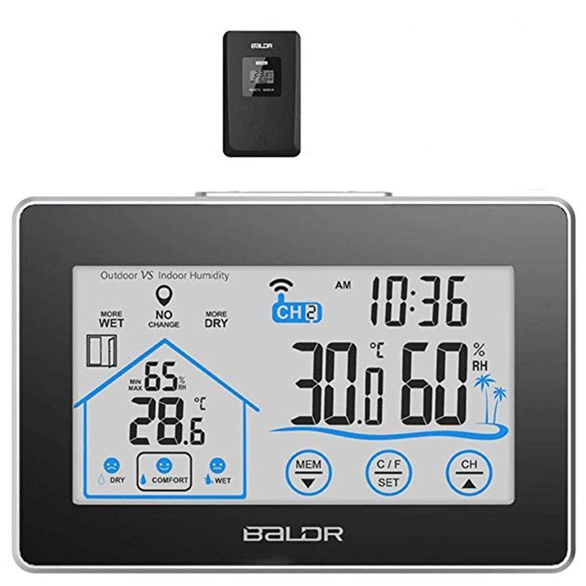 Digital Weather Station Hygrometer Thermometer Indoor Outdoor Temperature Humidity Gauge Wireless Meter with Temp Sensor Humidity Monitor LCD Touch Screen Backlight Battery Operated (Wall Mounted or Table Desk Stand) Baldr