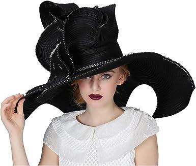 Koola Black Women Church Hat Derby Big Wide Brim Wedding Hat Cocktail Tea Party Cap 1BM006560