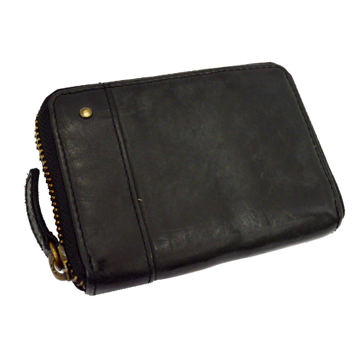 [GRUNGEALL]コインケース 革 メンズ レディース 小銭入れ カードケース 財布 GR171 B071V517WV ブラック ブラック