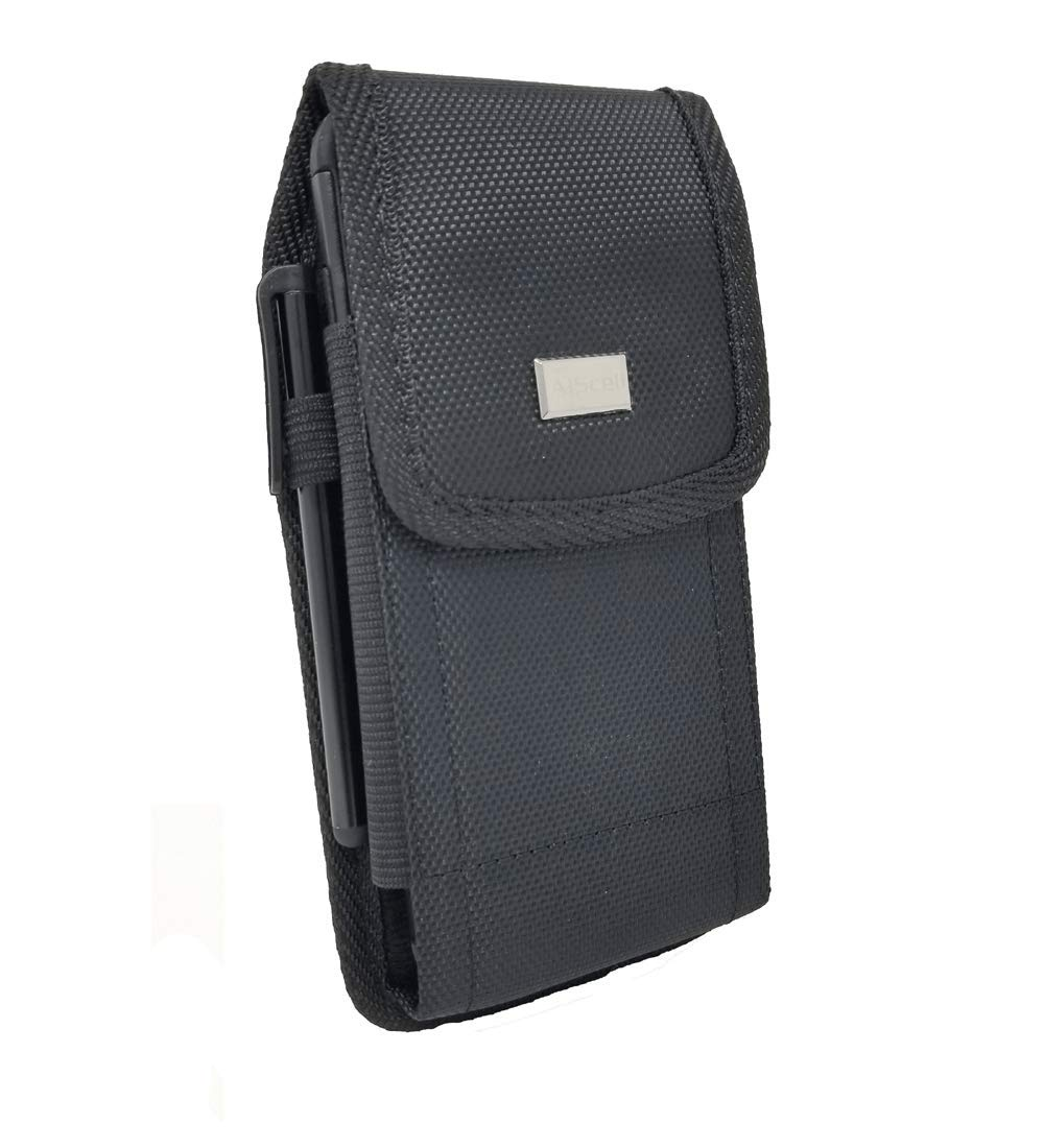 c4a14fb898ef AIScell Belt Holster for Motorola Moto e5 Plus / e5 Supra / G7 Power ~Black  Pouch Holster Rugged Nylon Canvas Case Metal Belt Clip+Carabiner(Fits ...