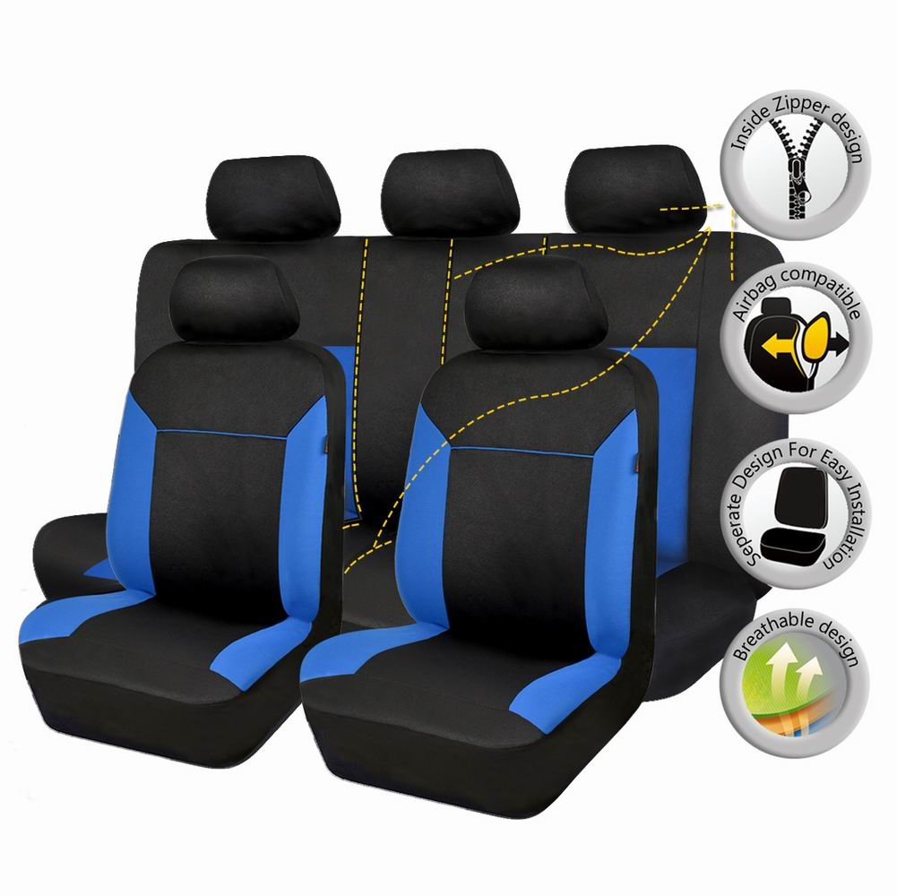 Blu Flying Banner Maglie Universale Coprisedili Auto Sedili con Airbag laterale
