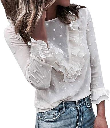 JURTEE Camisa Mujer Lunares Moda Encaje Volantes Cuello Redondo Tops Manga Larga Fiesta Blusa Transpirable Camiseta: Amazon.es: Ropa y accesorios