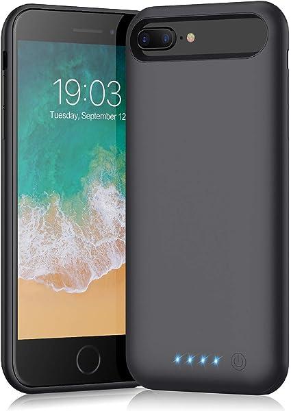 QTshine Cover Batteria per iPhone 6 Plus/6SPlus/8Plus/7Plus, 8500mAh Cover Ricaricabile Custodia Batteria Cover Caricabatteria Battery Case,[5.5''] ...