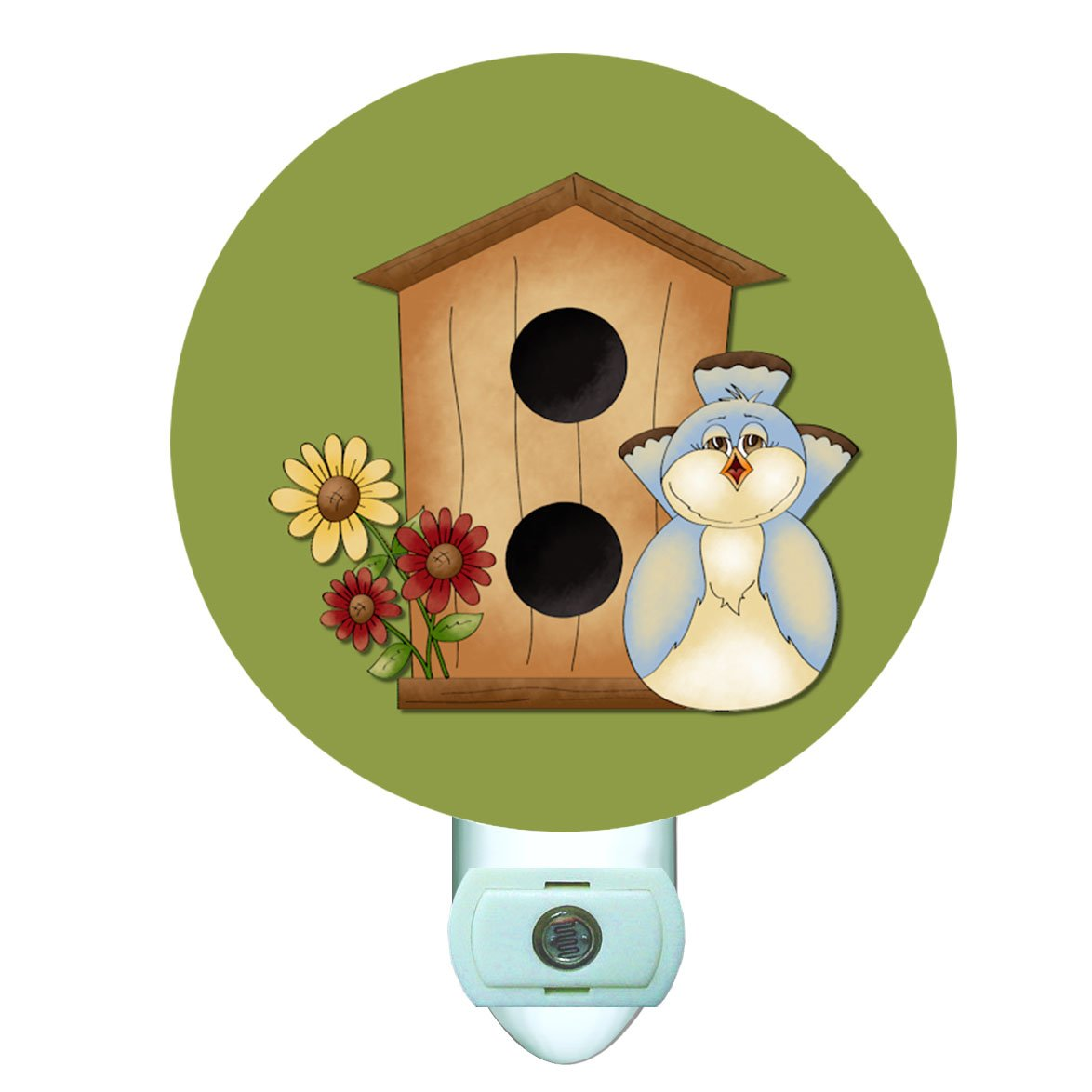 Blue Bird Birdhouse Decorative Round Night Light