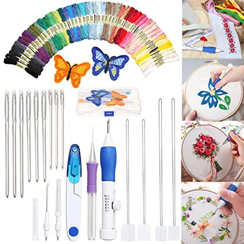 50 Pcs Magic DIY Embroidery Pen Sewing Tool Kit Punch Needle Sets ()