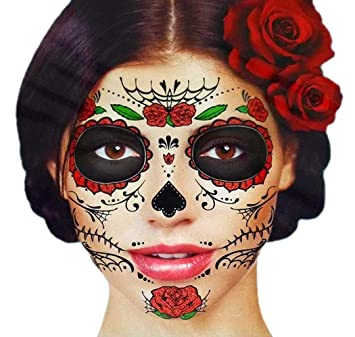 086d4cfae Amazon.com : Glitter Red Roses Day of the Dead Sugar Skull Temporary Face  Tattoo Kit - Pack of 2 Kits : Beauty